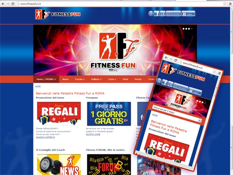 sito responsive, fitnessfun, sito adattabile a tablet e cellulari