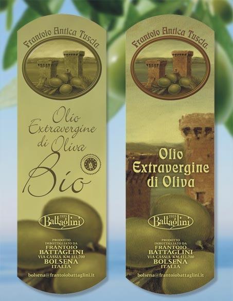 etichette per olio Frantoio antica Tuscia Battaglini