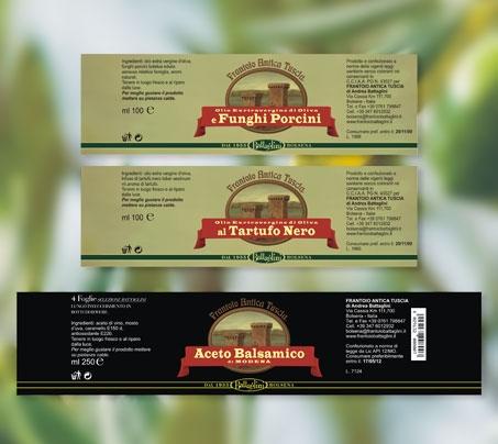 etichette per salse Frantoio antica Tuscia Battaglini