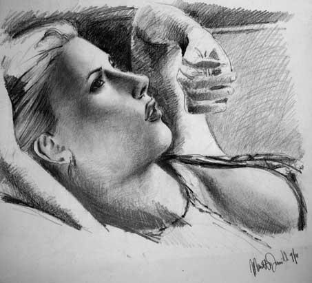 daniele manetti disegno a matita di scarlett johansson